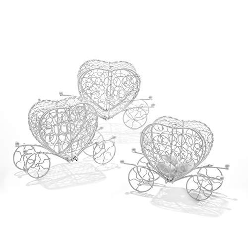 C.X.Y. 10 Pezzi Carrozza Carriage in Materiale Ferro-Portaconfetti Bomboniere Regalo