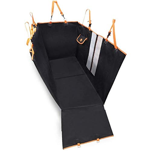 DIYHM Dog Carriers Waterproof Rear Back Pet Dog Car Seat Cover Mats Hammock Protector with Safety Belt Transportin Dogs and Armrest Fits Cars, Universal Size Fits fo (Color : Black)