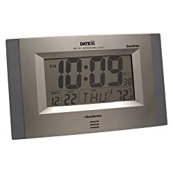 Datexx Radio Control LCD Wall Clock with Date and Temperature
