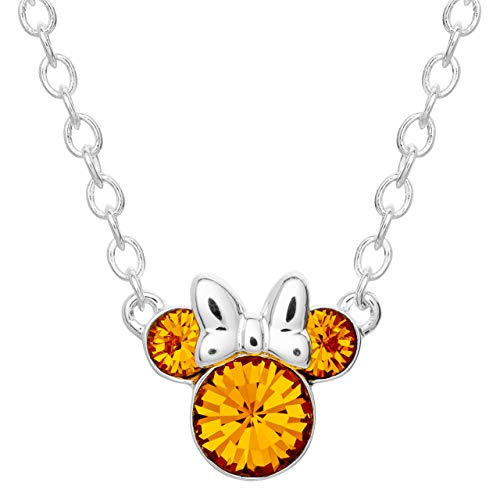 Disney Minnie Mouse Crystal Birthstone Silver Plated Pendant Necklace, November Topaz Brown