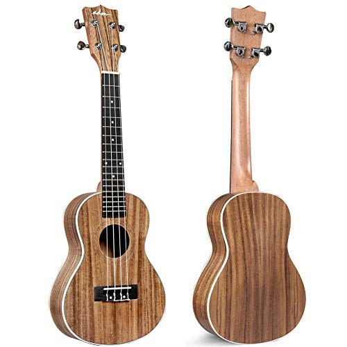 ADM Concert Ukulele 23 inch Hawaiian Solid Koa Wood Aquila Strings Adult Student Beginner Uke Bundle of Free Teaching CD Lesson, Gig Bag, Strap, Tuner, Strap, Fingerboard Sticker and Picks