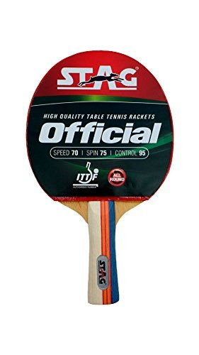 STAG Rubber and Wooden Official Table Tennis Racquet (Multicolour)