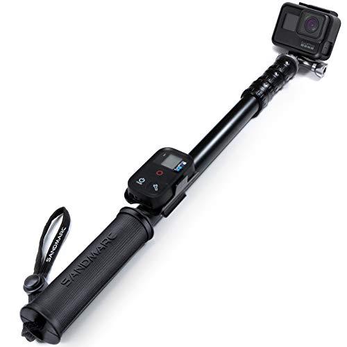 SANDMARC Pole - Metal Edition: 38-127 cm Wasserfest Stick für GoPro Hero 9, Hero 8, Max, 7, Hero 6, Hero 5, Session, Hero 4, 3+, 3, 2, und HD Kameras - with Remote halterung - Aluminium Teleskopstange Einbeinstativ