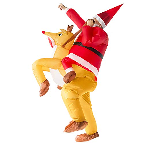 Inflatable Costume for Adults Blow Up Costume Suit for Christmas Halloween Cosplay, Snowman and Reindeer Riding (reindeer rider)