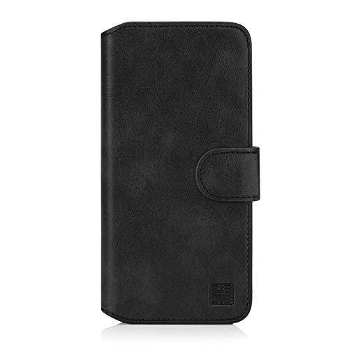 32nd Essential Series 2.0 - PU Leder Mappen Hülle Flip Case Cover für Google Pixel 4, Ledertasche hüllen mit Magnetverschluss & Kartensteckplatz - Schwarz