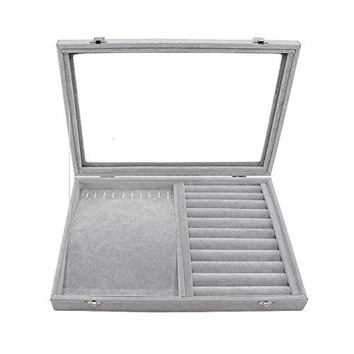 TXOZ-Q Exhibición de la joyería de terciopelo caja de la bandeja de la caja del estante de almacenamiento pendiente del collar, de celosía de almacenamiento acabado de displays Caja con tapa de crista