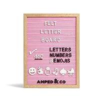 プレミアムフェルトレターボード 460文字 特大絵文字柄 壁掛けメッセージボード オークウッドフレーム プレカット文字 キャンバスバッグ3枚入 Lサイズ 16x12インチ (ピンクフェルトボード 白と黒の文字460枚)