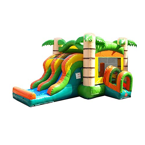 Kids Tropical Double Lane Dry Slide & Bounce House Combo - 21.5' Foot Long x 15.5' Foot Wide x 13.5' Foot Tall - Commercial Grade Inflatable - Includes: Blower and Stakes