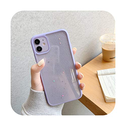 Twinkle Candy Funda transparente para iPhone 11 12 mini Pro Max XS X XR 7 8 6 6S plus SE 2020 suave a prueba de golpes Carcasas cubierta púrpura para iPhone Xs