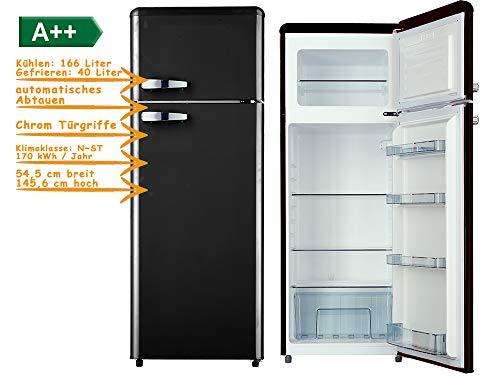 Kühl-Gefrierkombination 206 Liter Schwarz 145cm A++ 166-40 Kühlschrank, Chrom Türgriffe, verstellbare Füße, Gefrierfach