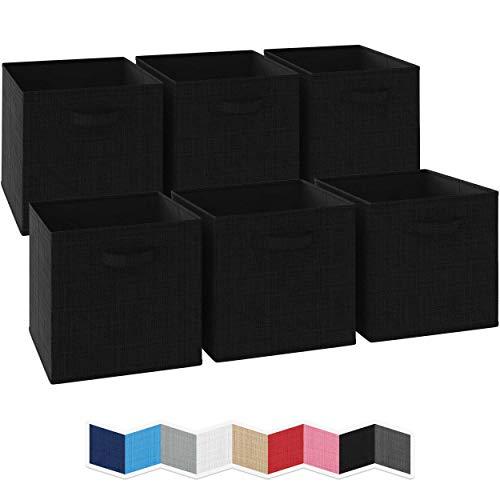 NEATERIZE Ordnungsbox 33x33x33-6 Boxen Aufbewahrung Set | Faltboxen Mit Zwei Tragegriffen | Faltbare Kallax Boxen | Extra Stabile Stoffbox Als Kallax Einsatz | Kisten Aufbewahrung [Schwarz]