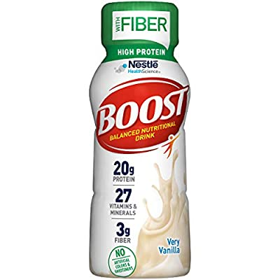 Boost High Protein with Fiber Balanced Nutritional Drink, Very Vanilla, 8 fl oz Bottle, 24 Pack from Nestle