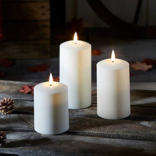 Lights4fun 3er Set TruGlow® Kerzen für Außen mit warmweißer LED Flamme und Timer