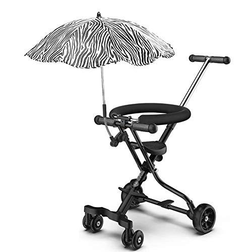 Triciclos para niños pequeños Triciclos para niños pequeños, Trolley ligero para niños Triciclo para viajes en avión, Cochecito de bebé con sombrilla Sombrilla para niños de 1 a 6 años (Color: negro)