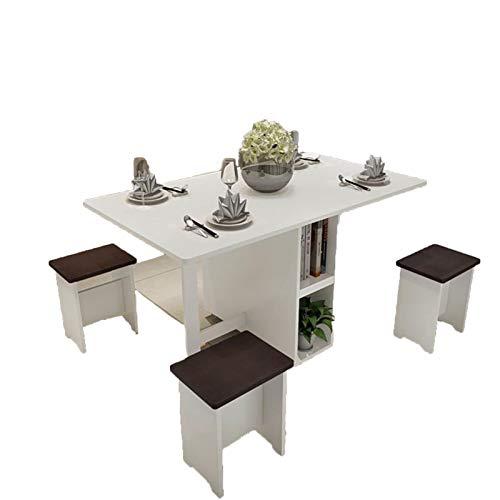 WNN Mesa de Comedor Blanco Conjunto de 5 Piezas Mesa + 4 Taburete Mesa de Comedor Mesa de Picnic Silla Langer Retro Madera Doble Escritorio Oficina URG (Size : 1.2m)