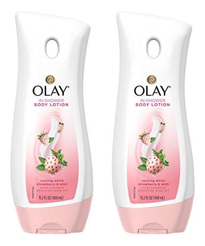 Olay In-Shower Body Lotion - Cooling White Strawberry & Mint - Net Wt. 15.2 FL OZ (450 mL) Per Bottle - Pack of 2 Bottles
