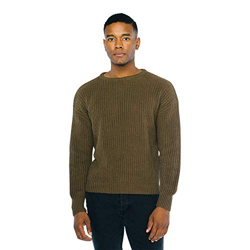 American Apparel Herren Fisherman's Long Sleeve Pullover, Army, X-Klein
