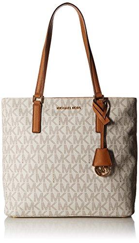 MICHAEL Michael Kors Women's Morgan Medium Tote PVC Logo Vanilla Handbag