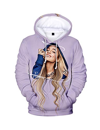Stampa 3D Trend Singer Ariana Grande Felpa con Cappuccio per Donna,Ariana Grande Thank u, Next Felpa Pullover Hoodie Tinta Unita Manica Lunga per Ragazza Donna (BA06-C,M)