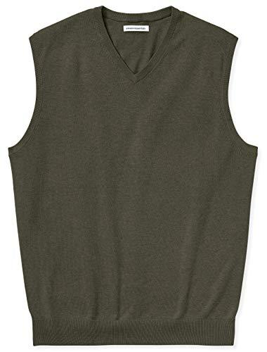 Amazon Essentials Men's Big & Tall V-Neck Sweater Vest fit by DXL, Olive Heather, 4X Tall