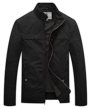 WenVen Men s Soft Lined Military Jacket Light Casual Canvas Outerwear  Black M