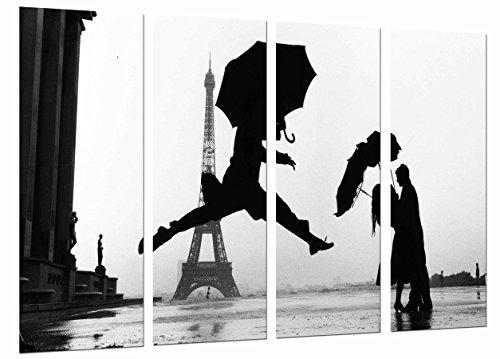 Wandbild - Stadt Paris, Schattenbild-Paar-romantischer Regenschirm, Regen, 131 x 62 cm, Holzdruck - XXL Format - Kunstdruck, ref.27070