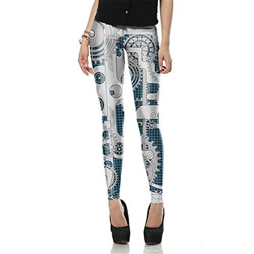 DSCX polainas pantalones de yoga mujeres estiramiento de las polainas de la impresión de maquinariade impresión
