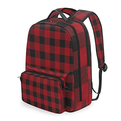 Lustiger roter Karierter Rucksack mit geometrischem Gittermuster und Abnehmbarer Schultertasche für die Schule, Computertasche, Tagesrucksack für Kinder, Jungen und Mädchen