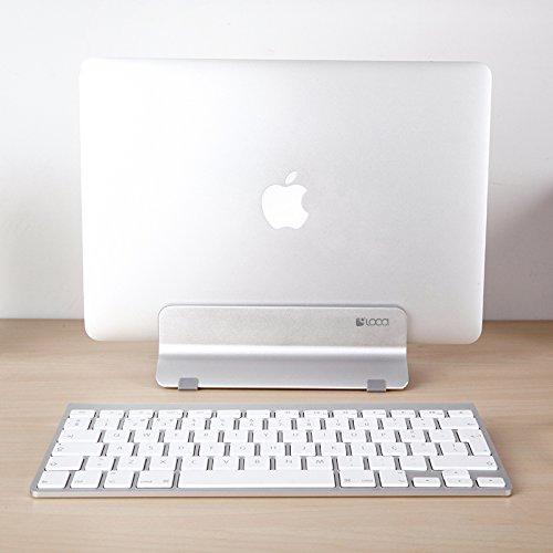 Vertical Laptop Stand, LOCA Aluminium Desktop Stand for Apple MacBook, notebooks (Silver) Photo #5