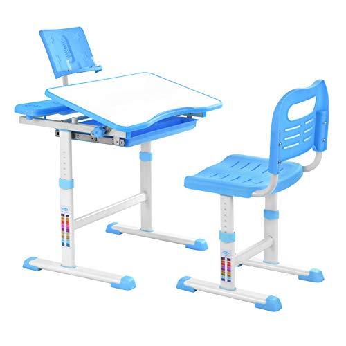 Bellanny Kinderschreibtisch Schreibtisch mit Stuhl Schublade und Leseständer Kinder Schülerschreibtisch Schreitisch ergenomisch höhenverstellbar Kindertisch für Mädchen & Jungen- Blau