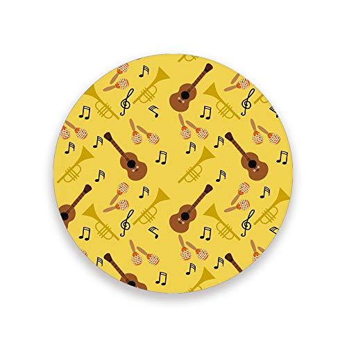 Lafle Bedruckte Runde Keramikuntersetzer mit Kork-Rückseite Gitarre und Trompete Kaffeetasse Untersetzer 10 cm 3,9 x 0,2 inch, Untersetzer aus Keramik und Holz, mehrfarbig, 3.9 inch x 0.2 inch x 2