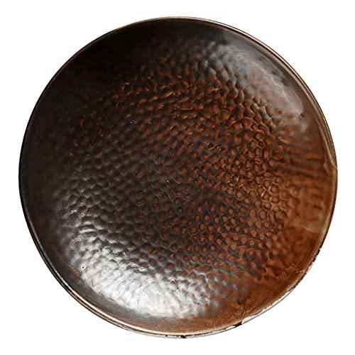 Plato de sopa de cerámica creativo retro, plato hondo con patrón de martillo de 8.5 y 10 pulgadas, plato de verduras con personalidad irregular, vajilla simple para el hogar, belleza cóncava y conve