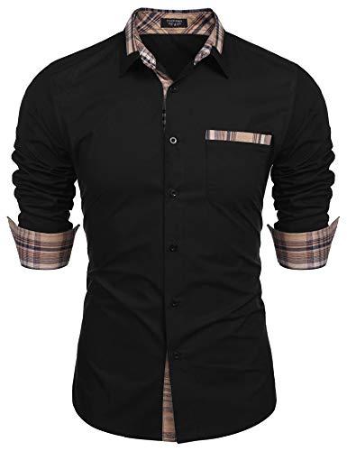 COOFANDY Men's Plaid Collar Cotton Casual Long Sleeve Button Down Dress Shirt Black