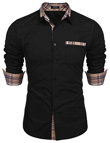 COOFANDY Men's Plaid Collar Cotton Casual Long Sleeve Button Down Dress Shirt Black