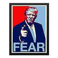 ハンギングペインティング - アメリカの面白いコミック、ドナルド・トランプ大統領1 ポスター 黒フォトフレーム、ファッション絵画、壁飾り、家族壁画装飾 サイズ:33x45cm(額縁を送る)