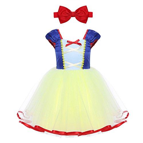 IEFIEL Disfraz de Princesa para Niña Infantil Vestido Manga Gigote de Princesa para Bebé Niña Vestido Elegante de Fiesta Tul Tutú Vestido de gasa Cumpleaños Azul&Amarillo 18-24 meses