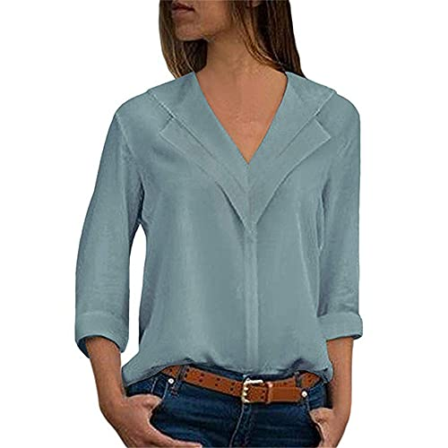 Camisetas Mujer Temperamento Elegante Color Sólido Primavera Verano Cuello V Mujer T-Shirts Exquisitos Collaríns Manga Larga Diseño Ocio Diario Conmutar All-Match Mujer Tops J-Blue XXL
