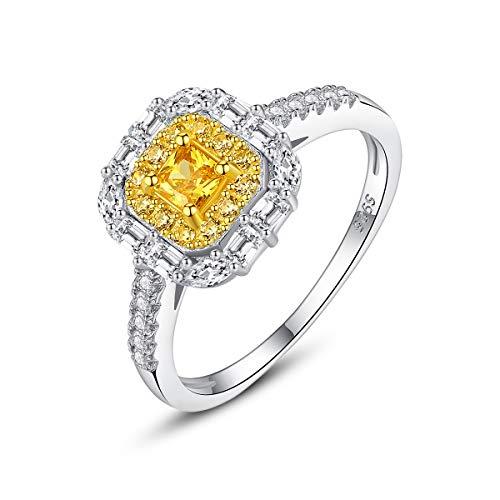 Esberry® Damen Ring aus echtem 925 Sterlingsilber – Hochwertige Zirkonia Steine – Funkelnder Gelber Edelstein – Anlaufschutz & Nickelfrei – Verlobungsring Kate