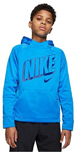 Nike Boy's Therma Pullover Logo Hoodie Sweatshirt (Youth Medium) Blue Hoody Blue Classic Logo Hoody Sweatshirt