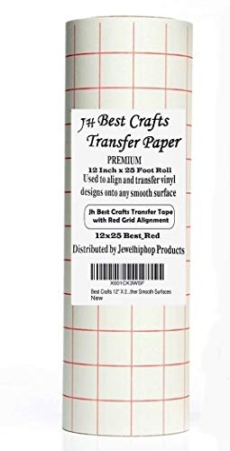 """JH Best Crafts 12"""" X 25' Feet Roll Transfer Paper w/Grid- Perfect Alignment of Cameo or Cricut Self Adhesive Vinyl for Decals, Walls, Signs, Ceramics, Glass, Windows and Other Smooth Surfaces"""