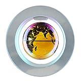 FGKLU 6 Inch Levitación Magnética Globo Terraqueo, LED Luminiscente Dorado Giratorio Bola Mundo, Plástico ABS Base Magnética Redonda, para Regalo de Educación, Decoración del Hogar y la Oficina
