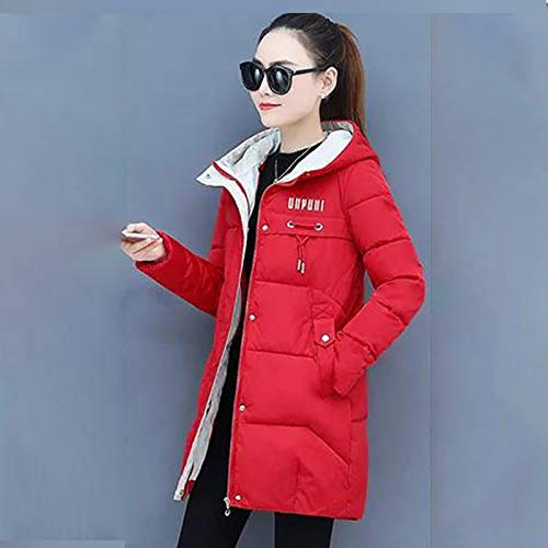 WJFGGXHK Women'S Down Jackets,Fashion Mid-Length With Hooded Stand-Up Collar Design Red Thick Soft Packable Down Jacket Winter Warm Lightweight Casual Puffer Jacket For Adult Women Coat Clothing