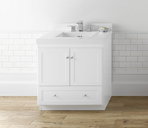 RONBOW Shaker 30 Inch Bathroom Vanity Base Cabinet with Soft Close Wood Door, Cabinet Drawer and Adjustable Shelf in White 080830-3-W01
