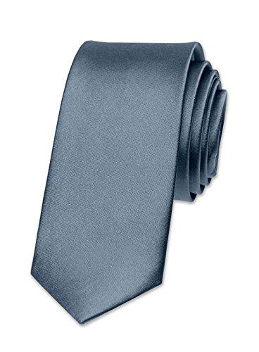 Autiga® Krawatte Herren Hochzeit Konfirmation Slim Tie Retro Business Schlips schmal schiefergrau