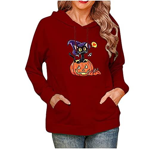 Wave166 Disfraz de Halloween para mujer, gato y calabaza, sudadera con capucha, cordón, con bolsillos, monocolor, sudadera con capucha, ropa deportiva para mujeres, Vino, L