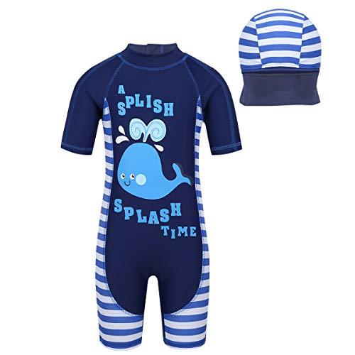 iiiniim Kinder Jungen Badeanzug UV-Schutz Halbe Ärmel Einteiler Schwimmanzug mit Bademütze Hai/Krabbe Druck Bademode Set Gr.92-122 Wal 86-92