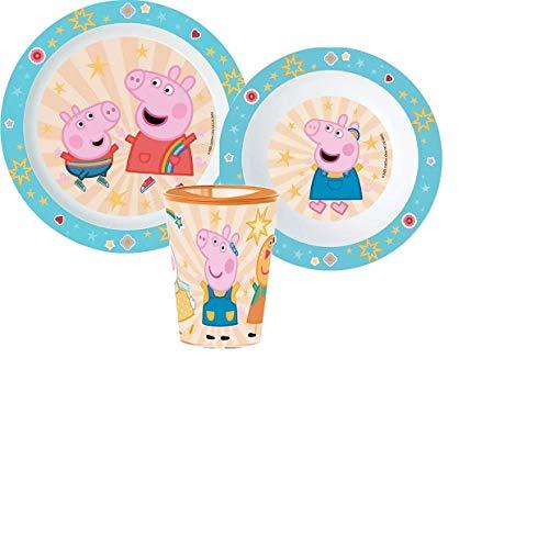 Little Flight Peppa Pig - Kit de comida, plato y vaso de plástico rígido para Micronde Peppa Pig, 1 plato, 1 taza, 1 cuenco.