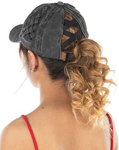 Criss Cross Hat Womens Baseball Cap Distressed Ponytail - Black Basket Weave