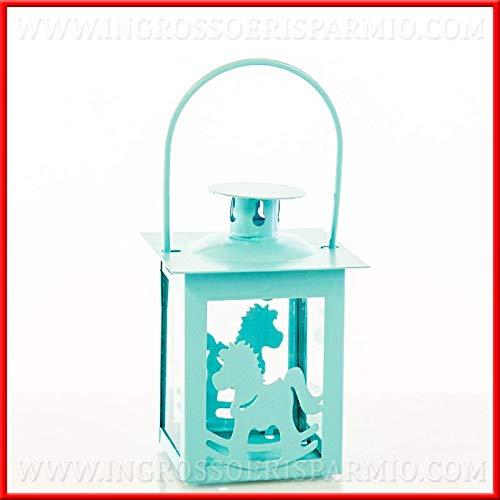 Ingrosso e Risparmio Lanterna in Metallo Azzurro con rappresentazione Cavalluccio a Dondolo bomboniere Nascita Battesimo Compleanno Bambino (Senza confezionamento)