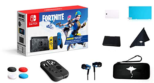 """Newest Switch Wildcat Bundle Fort-nite Edition 32GB Unique Console - Yellow and Blue Joy-Con - 6.2"""" Touchscreen LCD Display, 2000 V Bucks, Family Christmas w/GM 13-in-1 Supper Kit Case"""